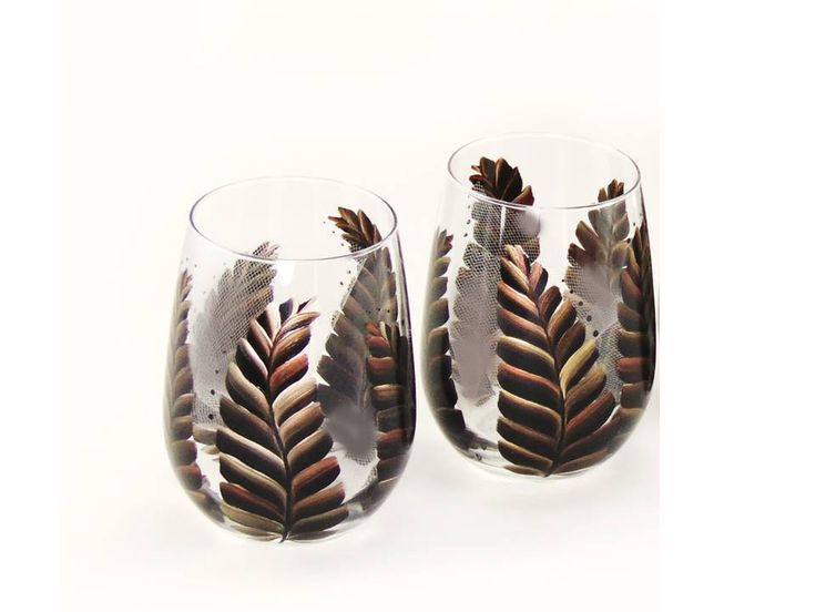Hand-Painted Stemless Wine Glasses - Metallic Feathers in Copper Platinum Black - Wine Glasses for Men Men's Stemless Wine Glasses by 32ndStStudio on Etsy