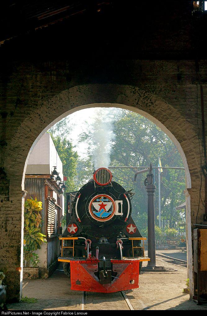 YD-967 Myanmar Railways Steam 2-8-2 at Mawlamyine, Myanmar by Fabrice Lanoue