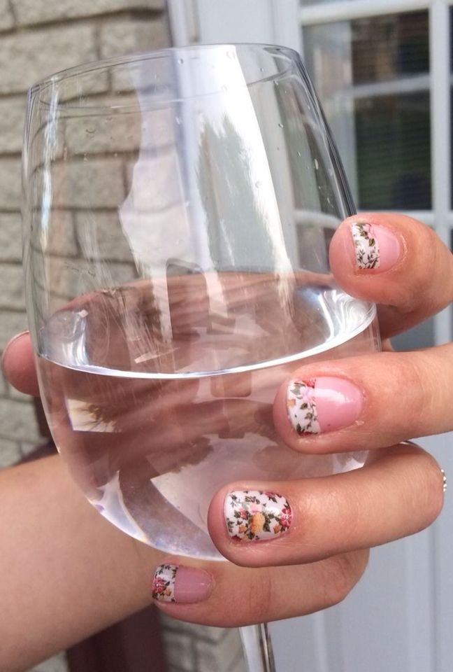 China Rose Tip with China Rose Jamberry Nail Wraps!  Get yours today at http://kerribattles.jamberrynails.net Or host a Facebook party and get them free! Ask me how!