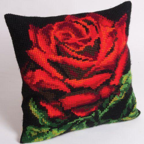 "Collection d'Art 40 x 40 cm ""Damask Rose"" Cross Stitch Cushion Kit"