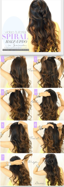 Cute daily hairstyles for medium long hair tutorial video | easy half-up half-down updo