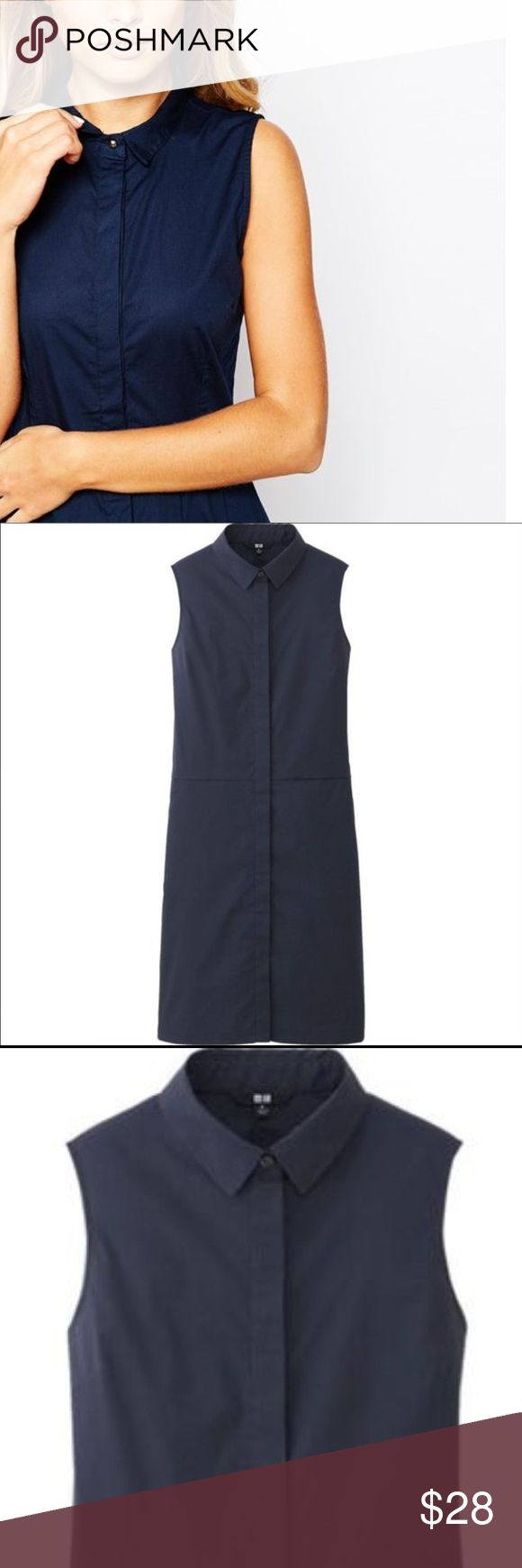 """UNIQLO DRESS This UNIQLO navy shirt dress has a feel of sophistication and playfulness at the same time. 34"""" length. NWOT is an xs but will fit several sizes, 0/2/4 Uniqlo Dresses"""