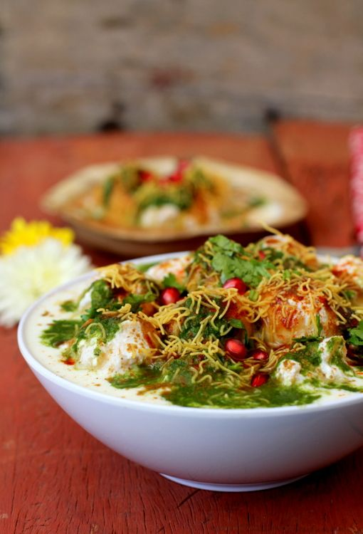 Delhi style Dahi Bhalla Chaat. with Yoghurt. Excellent summer food!