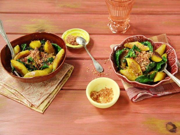 [Cozinha Pratica] Nhoque de banana com couve rústica e farofinha de bacon (Foto: Editora Panelinha/Gilberto Jr)