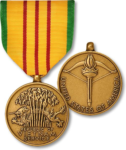 Vietnam Service Medal.  The Vietnam Service Medal (VSM) is a award of the United States Armed Forces established in 1965 by order of President Lyndon B. Johnson. The medal is issued to recognize military service during the Vietnam War and is authorized to service members in every branch of the U.S. Armed Forces, provided they meet the qualification criteria in United States Department of Defense regulation DoD 1348.