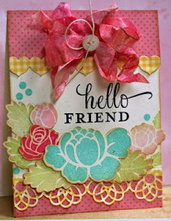 posie: Cards Ideas, Friends Cards, Floral Stamps, Paper Boarders, Messy Bows, Blue Rose, Cards Inspiration, Big Bows, Paper Crafts