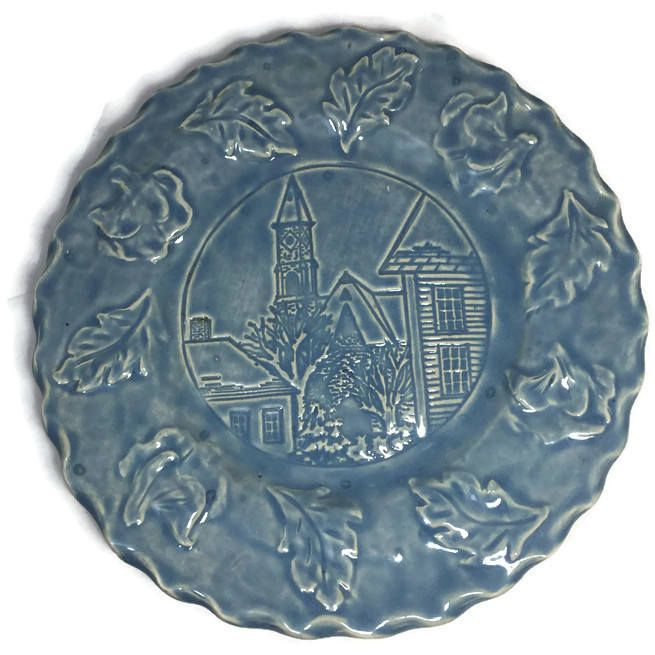 Vintage Marblehead Plate, Hestia Massachusetts, Town Scene, Blue Glazed Decorative Pottery, Collectible Plate by Duckwells on Etsy