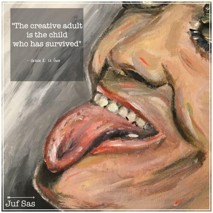 Quote van de week van schrijver Ursula K. Le Guin #quote #UrsulaleGuin #wijsheid #creativiteit #adult #child #survive #creative #creatief #schilderen #tekenen #jufsas #quotevandeweek