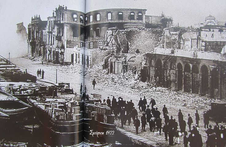 The Greek and Armenian quarters of Smyrna burnt to the ground by Turkish forces in September 1922. The Turkish and Jewish quarters were spared