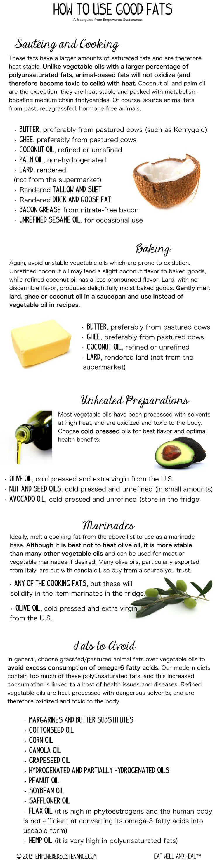 Good Fats & How to use them for cooking, baking and dressings
