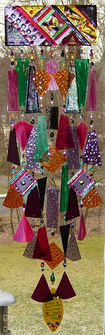 Aztec style. stained glass wind chimes