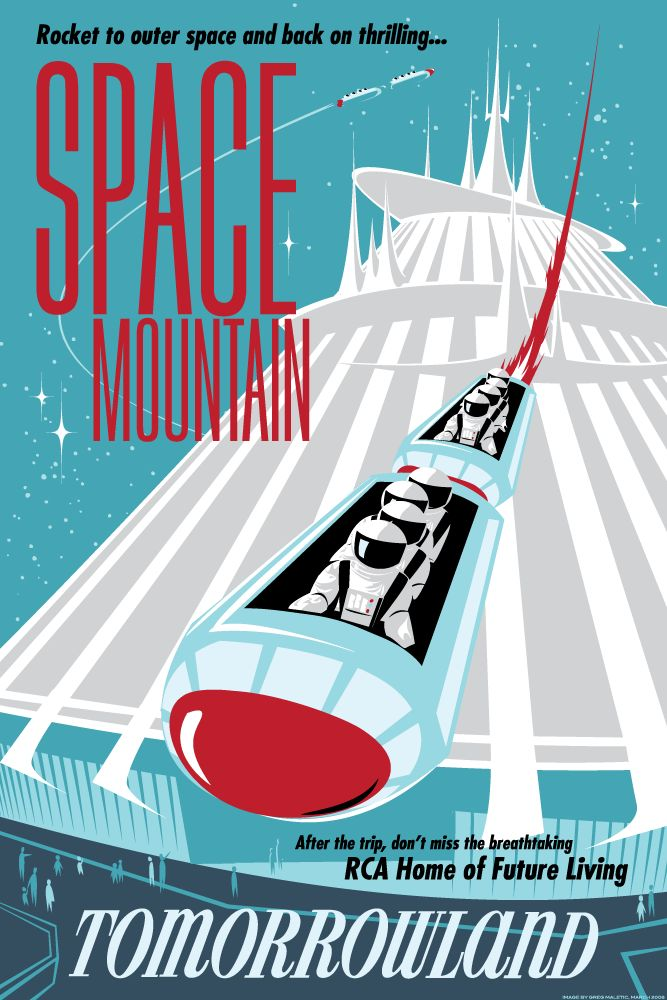 Space Mountain PosterVintage Posters, Vintage Disneyland, Disney World, Retro Posters, Magic Kingdom, Vintage Spaces, Space Mountain, Disney Posters, Spaces Mountain