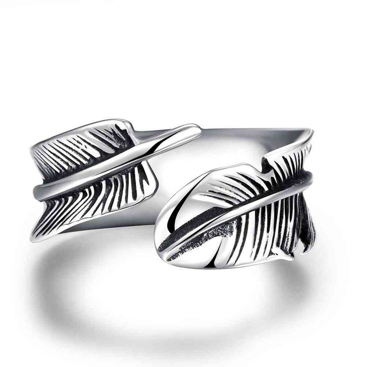 best friends stainless steel ring Feather aliancas Gift for her MAYAR241