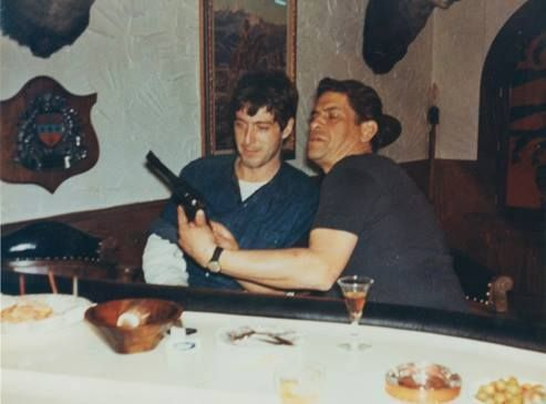 """""""Al Pacino and Al Lettieri hanging out at the home of Lettieri's brother in law Patsy Eboli. Eboli hosted a big dinner for the cast of The Godfather during filming in 1971. How cool is it to see Michael Corleone and Virgil Solozzo kidding around with each other?"""" (Caption and picture credit: http://gangsters312.tumblr.com/)"""