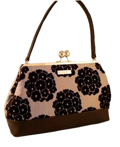Hibiscus black hand bag, by 2012 Circle Craft Christmas Market exhibitor, Karen Wilson Handbags.