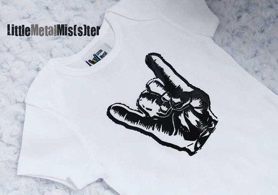 unisex punk baby clothes | Punk Baby onesie - Rocker / Metal hand gesture in a 3 month white ...