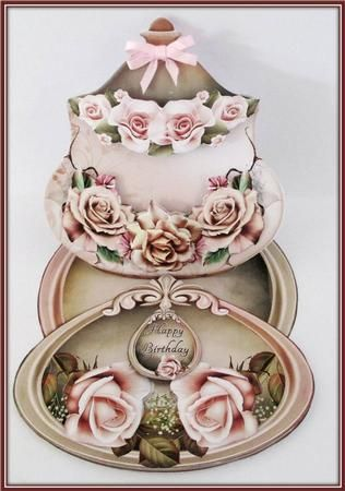Lovely Easelcard Jar With Cream and Brown Roses on Craftsuprint designed by Andrea Hippenstiel - made by Rae Trees - I printed the design on good quality matte photo paper, I cut, scored and folded the easel,. I used glue paste to attach the topper and assembled the elements with foam pads. I added one of the sentiments and a bow to finish. This is an absolutely stunning, the graphics are beautiful. Elegant suits the design. - Now available for download!