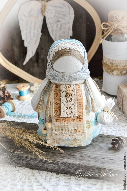 "Folk doll | куколка ""Ангел добра и благополучия"". - белый,бирюзовый,бежево-коричневый"