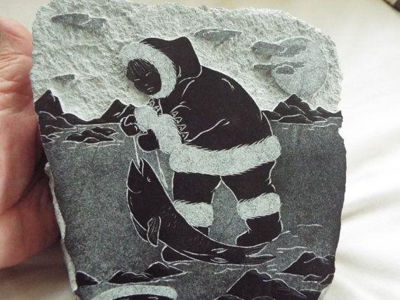 Inuit Eskimo soapstone carving Ice fishing by OnWinstonLane