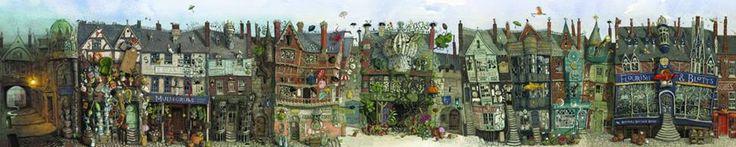 Harry Potter (ilustrado por Jim Kay) - Callejón Diagon #EsculturasMorla #Literatura #ArtesaníaEnBronce