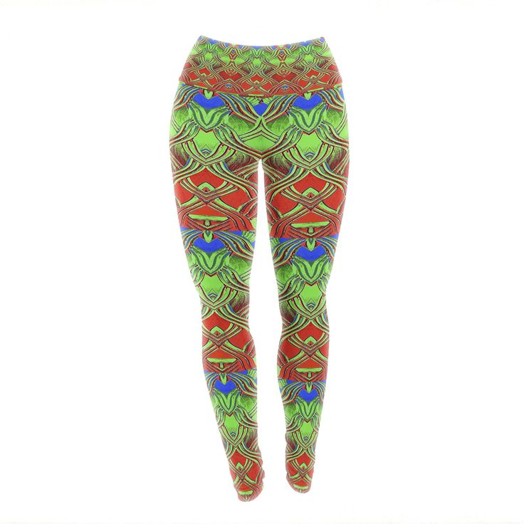 """Anne LaBrie """"Mystic Flow"""" Green Red Yoga Leggings from KESS InHouse"""