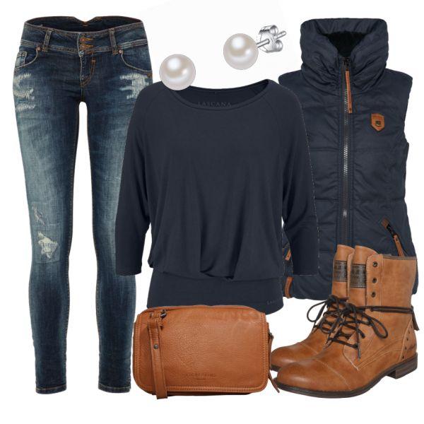 Ein tolles Übergangsoutfit! Die lässige Jeans von LTB wird durch ein schlichtes Shirt von Lascana ergänzt. Die coole und warme Weste von Naketano verleiht dem Look einen sportlichen Stil. Besonders die Boots von Mustang fallen auf. Für nasses Wetter wie geschaffen. Eine sehr stylische Alltagskombi. :)