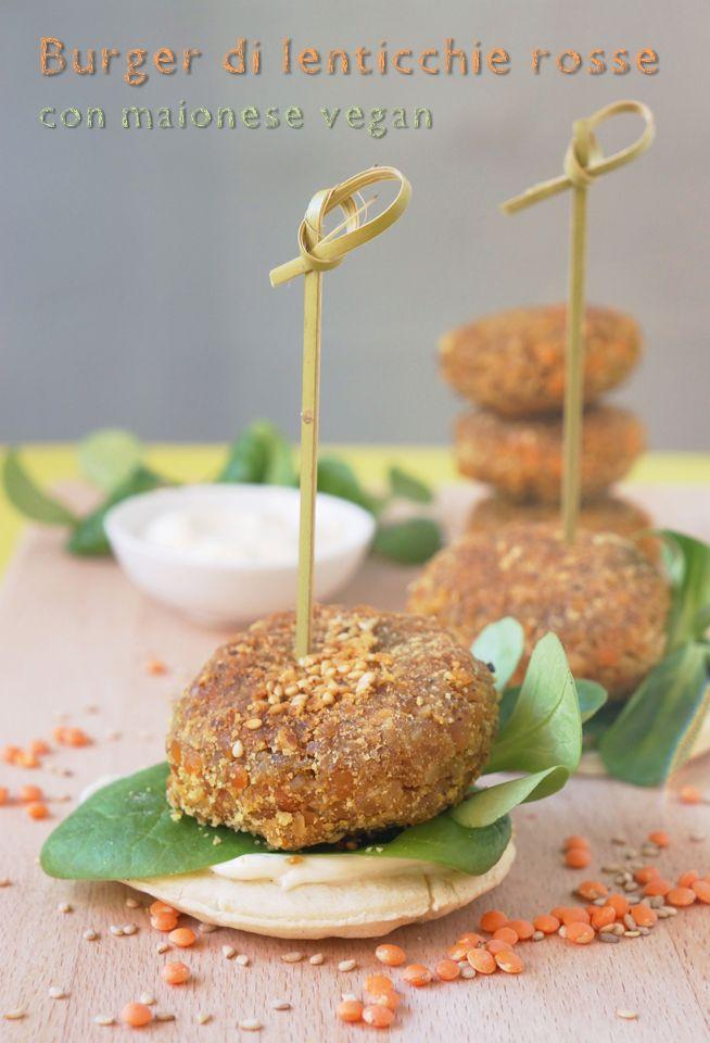 Hamburger di lenticchie rosse con maionese vegana @Shelby Blair di stelle