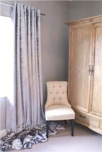 Stunning Silver Crushed Velvet Eyelet Lined Curtains Huge/Long/Bay Window | eBay
