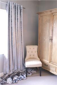 Stunning Silver Crushed Velvet Eyelet Lined Curtains Huge/Long/Bay Window | eBay