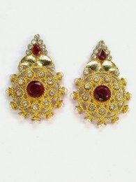 Earring Embedded With Red Color Stone