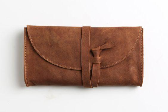 Brown leather wallet women wrap around purse wallet by EMILISTUDIO ...