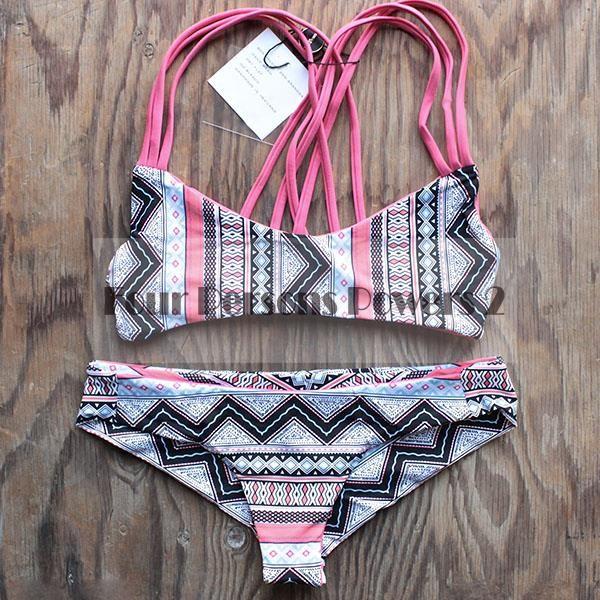 2016 Neopren Bikinis Matching Swimsuit Biniki Set Sexy Women's Bathing Geometric printing Bikinis Set maillot de bain N62