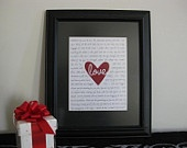 Custom romantic gift, wedding vows, song lyrics your words, for fiance, husband, wife, boyfriend, girlfriend, partner. $40.00, via Etsy.