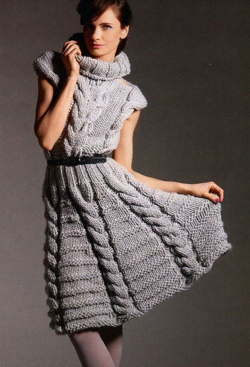 Hand Knit Women turtleneck dress sweater coat от BANDofTAILORS