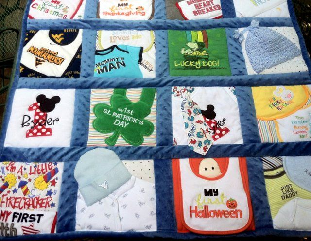 Memory Quilts from Baby Boy Clothes - Amy Cavaness Designs Includes first-year holiday shirts, coordinated bibs, baby knit caps and a Dr Seuss tie. Backed with minkie fleece