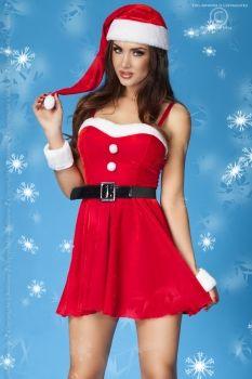Erotisches Weihnachtskleid mit verstellbaren Trägern inklusive Mütze, Gürtel, Höschen und flauschigen Armbändern. Farben: rot/weiß Größen: S/M oder L/XL Material: 90% Polyester, 10% Elasthan