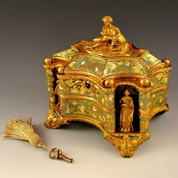 Antique French TAHAN PARIS Gilt Bronze Enamel Jewelry Casket Box, Figural