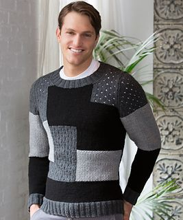 Intarsia provides a great patchwork front for this sweater without knitting and seaming many pieces. It's the perfect sweater for the stylish man!