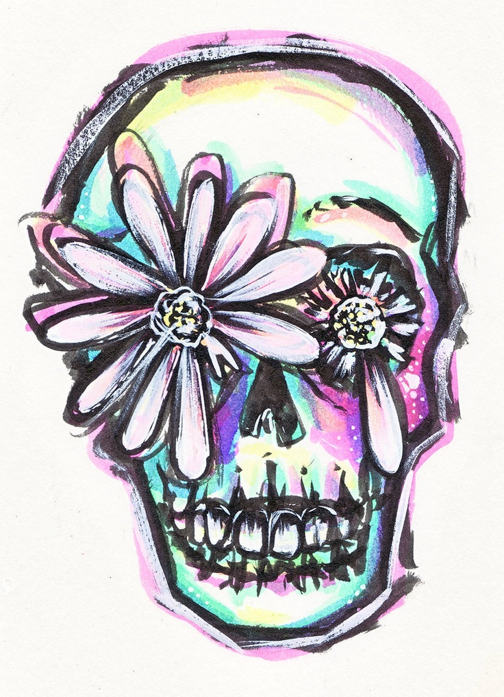Image detail for -daisy skull by ~zombieromance on deviantART