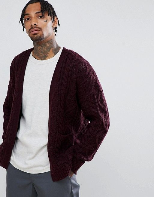 8dd502be0c5 DESIGN oversized heavyweight cable knit cardigan in burgundy in 2019 ...