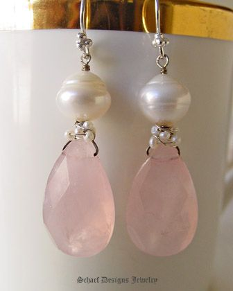 Large Pink Chalcedony teardrops topped with sterling silver & seed peal wire wrapping, large white freshwater pearl dangle earrings | online upscale artisan handcrafted jewelry boutique | Schaef Designs gemstone & pearl earrings | San Diego, CA