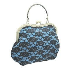 840 Handbag in Glamour, Formal or Vintage style, purse bag, Evening Frame clutch bag, Party bag, Womens clutch bag, bag has handle clutch bag has Handle, Handbag in Evening or Bohemian style, Handcrafted Handbag made from fabric has padding is added inside the fabric layers to keep its shape, bag finished off frame has metallic kiss closure and handle, handbag for womens handbag, evening clutch of satin & lace for women, blue & black 1075