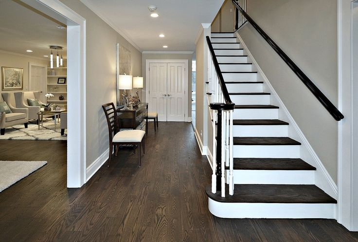 Traditional Entryway with French doors, Northern Red Oak - Espresso 5 in. Engineered Hardwood Wide Plank, Crown molding