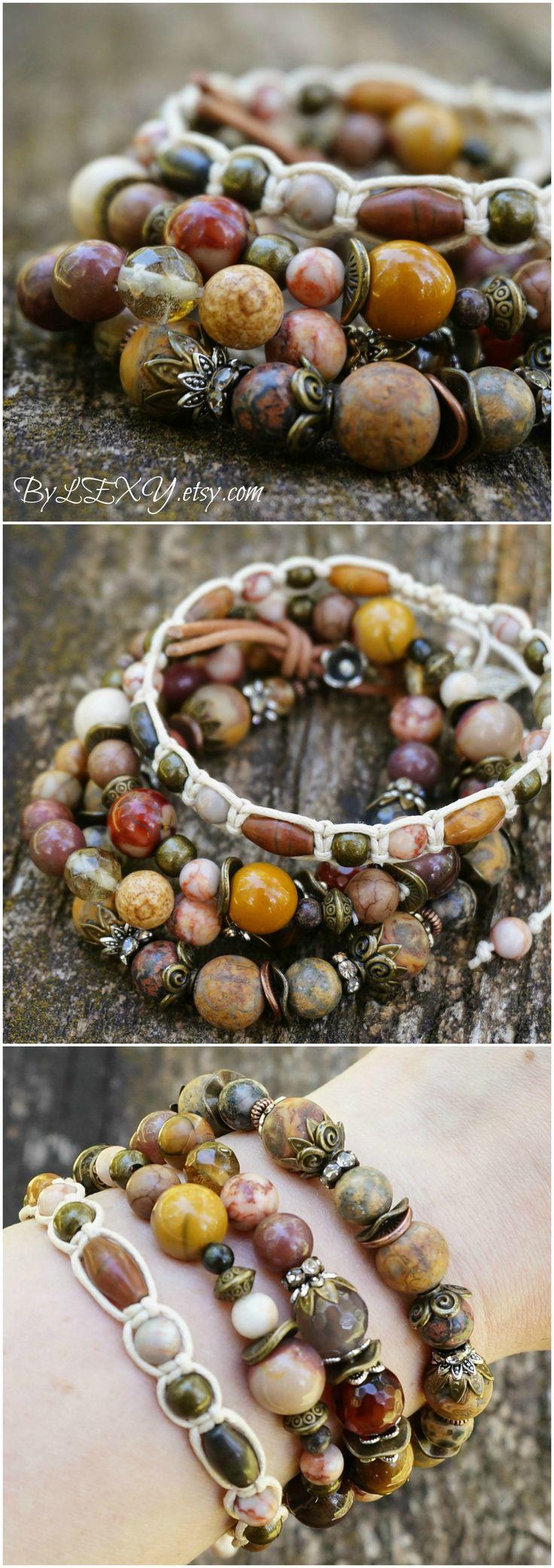 "Set of 4 Boho ""Berry Garden"" Wrap Stretch Stack Bracelets, Bohemian Hippie Gypsy Crystal Bracelets Jewelry ByLEXY"