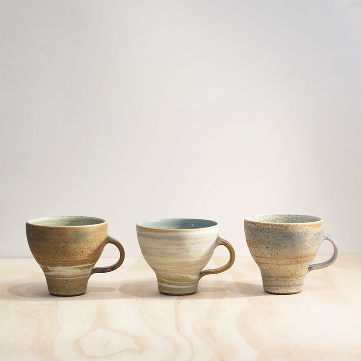 Stoneware cups by Ulrica Trulsson.   Handmade in South Australia.
