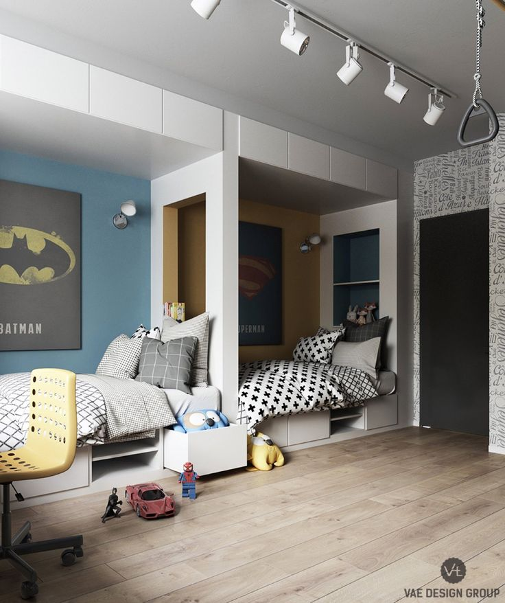 batman-and-superman-kids-bedrooms-in-one-space-space-savers