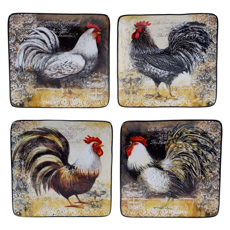 null Vintage Rooster Collection Rustic Salad and Dessert Plate (Set of 4)