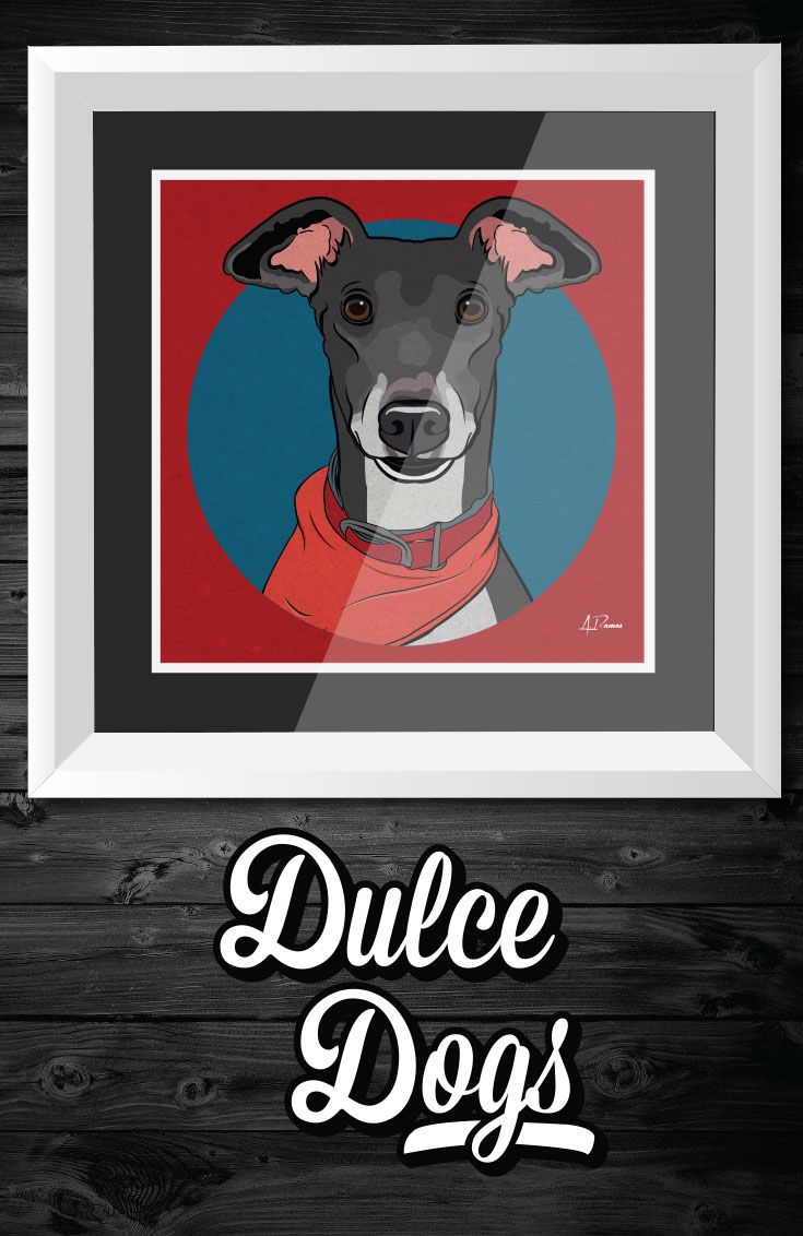 Greyhound Wall Art Greyhound Dog Illustration Wall Art