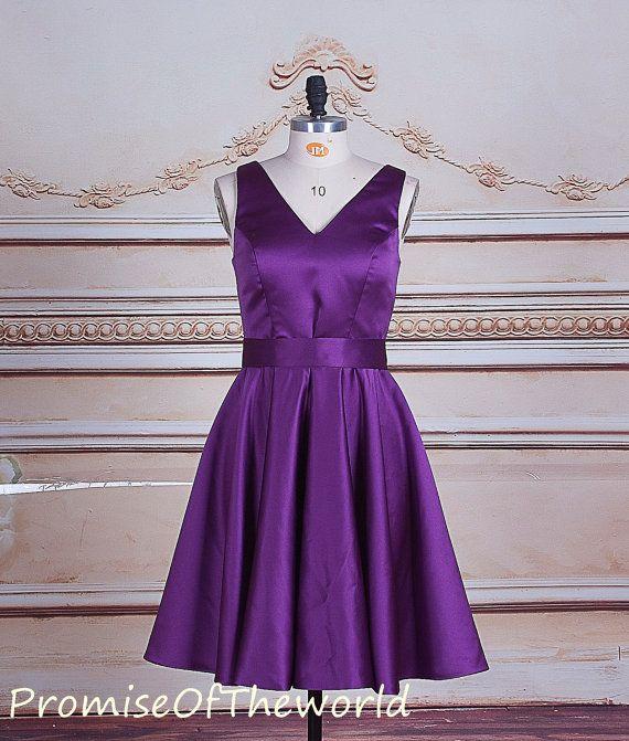 Cadbury purple satin bridesmaid dress, short bridesmaid dress,tea length bridesmaid dress, V neck V cut back bridesmaid gown with waist sash