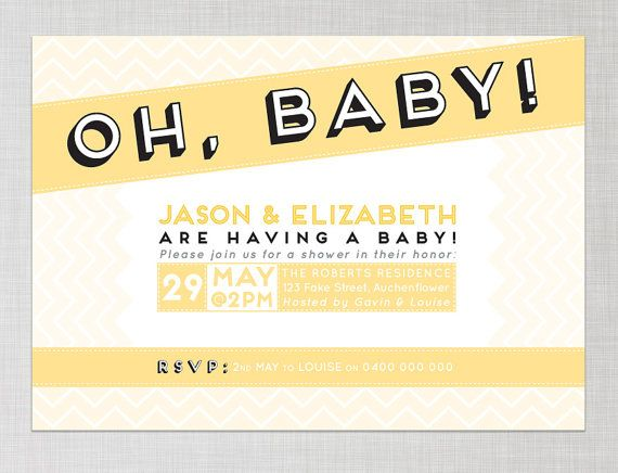 Printable Couples Baby Shower Invitation in Yellow